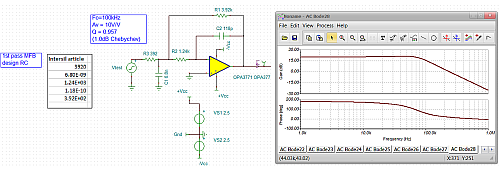 Click here for larger image  MFB simulation circuit using the OPA377 model and the Intersil RC values.