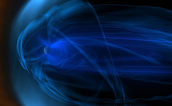 Magnetic fields, known as the magnetosphere, surround Earth. Shown here is an artist's conception of the constant stream of particles flowing by from the solar wind. The solar wind speed variations buffet the Earth's magnetic field and produce storms in the Earth's magnetosphere. (Image courtesy of NASA)