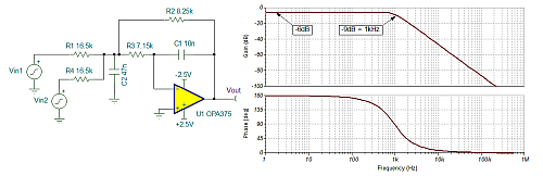Click here for larger image   A modified MFB low-pass filter sums two inputs together with the same 1kHz cutoff frequency