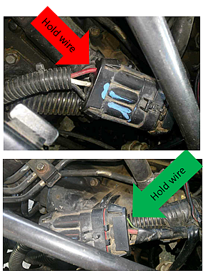 The top photo (above), of the connector, with the blue markings, shows three wires on the solenoid side of the connector