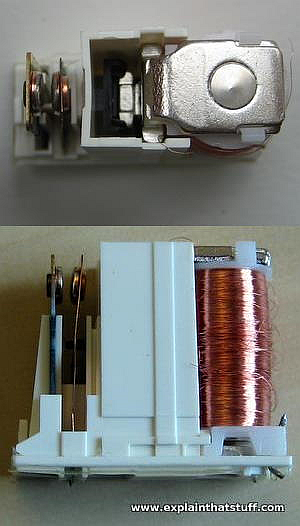 A View of the Internals of a Relay Including the Contact and the Coil (From a tutorial on Explainthatstuff.com)