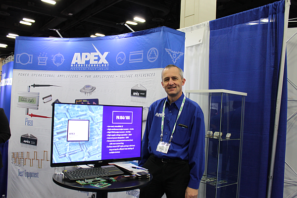 Jens Eltze, Strategic Marketing, Apex Microtechnology at the Apex booth on the APEC 2018 exhibit floor. (Image courtesy of Loretta Taranovich)