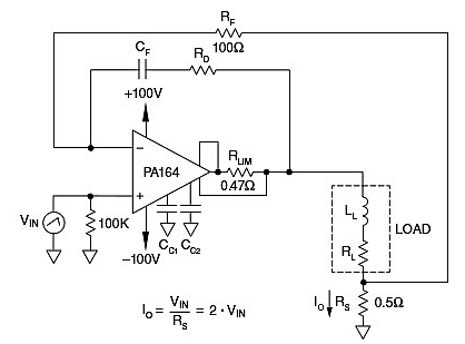 A PA 164 power amplifier in a floating load voltage-to-current configuration (Image courtesy of Apex Microtechnology)