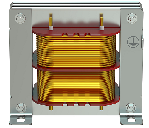 Example of a current transformer showing the ratio that steps down the current in the primary coil to the secondary coil for measurement