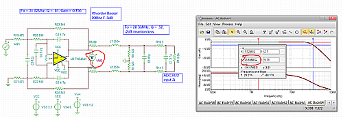 Click here for larger image   Modified RC values in the THS4541 active filter stage to adjust for GBW and C2.