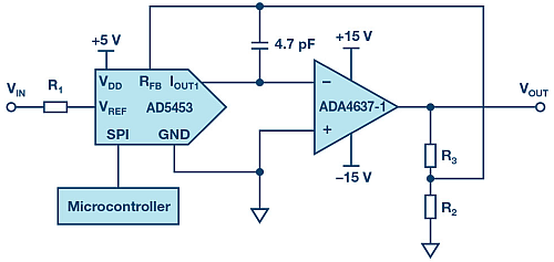 Circuit with variable gain (PGA).