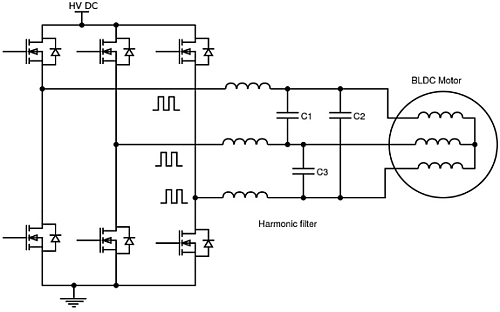 Motor drive EMI can be filtered with film capacitors