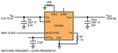 3.3V to 5V Input, Delivering 12V at up to 800mA with an External Clock