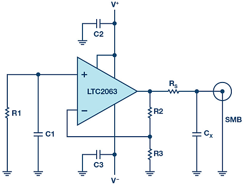 Full schematic of white noise generator. Low drift micropower LTC2063 amplifies the Johnson noise of R1.
