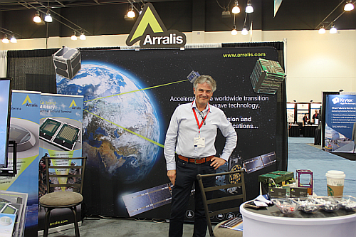 The Arralis Booth at 2018 Space Tech Expo with Mike Greaves, CTO (Image courtesy of Loretta Taranovich)