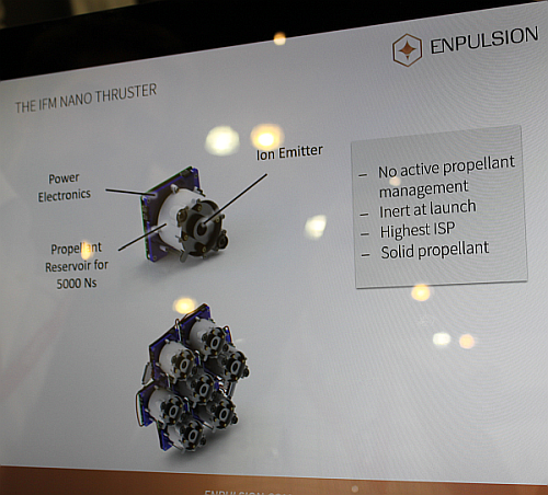 Using an efficient ionization process allows one to ionize up to 60% of the evaporated Indium atoms, the IFM Nano Thruster can provide a higher specific impulse than any other ion propulsion system currently out there. Using a cluster of IFM Nano Thruster modules for small satellites provides a significant thrust vectoring capability. (Image courtesy of Loretta Taranovich)