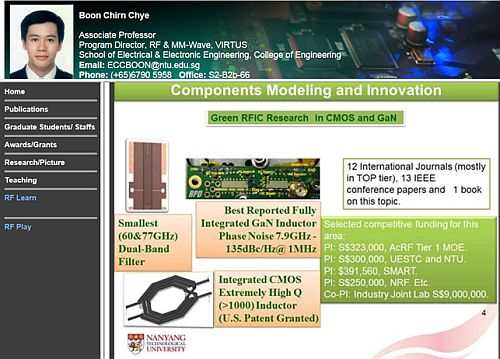 The research activity of professor Boon Chirn Chye focused on RFIC in GaN and CMOS (Source: ntu.edu)