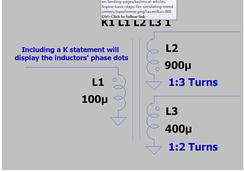 Using a K Statement to Couple Inductors and Make a Transformer5