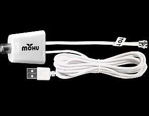 The antenna comes with a USB-powered pre-amplifier which can be optionally used; due to temperature constraints, it was connected at the far end of the transmission line rather than the preferable position right at the antenna. (Image source: Mohu)