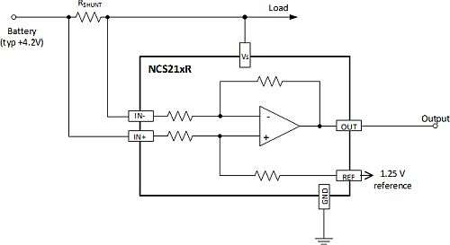 Example battery current sensing circuit with bi-directional current sense amplifier. Using an ON Semiconductor NCS214R provides 60 μV maximum offset and 1% maximum gain error over temperature