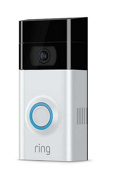 The wireless Ring2 video doorbell measures 5.05 in. × 2.50 in. × 1.08 in. (12.8 cm × 6.35 cm × 2.76 cm) and uses the smart phone as its user interface; it comes with everything you need to install it including tools, optional wire leads with spade lugs for external power connection, and even 'wedges' so you can angle it up/down and left/right to optimize its viewing orientation. (Image source: Ring)