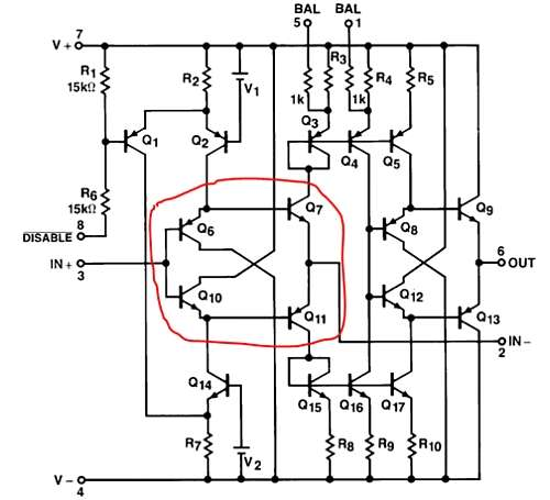 Circuit diagram for early CFA monolithic op amps (EL2020)