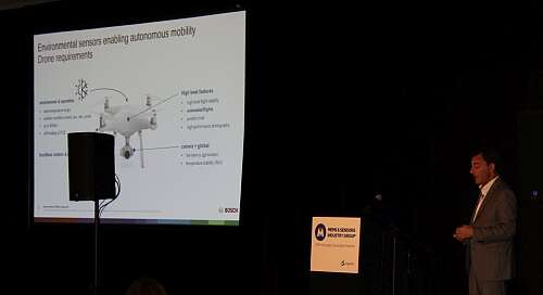 Marcellino Gemelli presenting his 'Environmental Sensors Enabling Autonomous Mobility' presentation to the MSEC audience (Image courtesy of Loretta Taranovich)