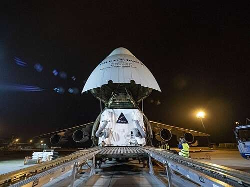 The first European Service Module  for NASA's Orion spacecraft was loaded onto a transport plane in Bremen, Germany, on Nov. 5, 2018, and has arrived at NASA's Kennedy Space Center in Florida. NASA will use this European-built system to propel, power, and cool NASA's Mars Orion spacecraft1. (Image courtesy of NASA/Rad Sinyak)