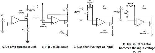 Click here for larger image  This figure depicts the transformation from a basic op amp current source to a high-side current sensing amplifier with a current output.