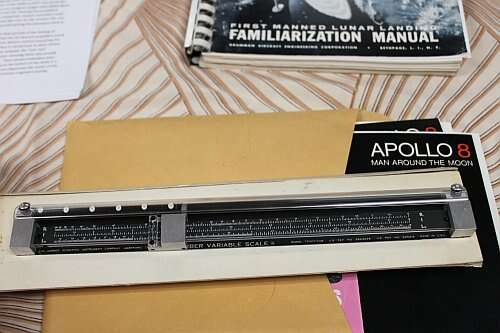 Ray Melton's Apollo memorabilia from the 60s including the Gerber Scale he used in his work in the Rocket engine area at NASA White Sands Test Facility (WSTF) (Image courtesy of Ray Melton; photo by Loretta Taranovich)