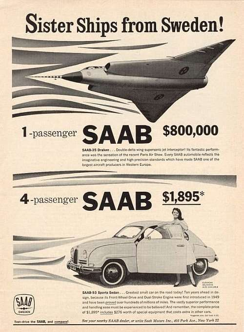 Saab car ad of the (a)1960s