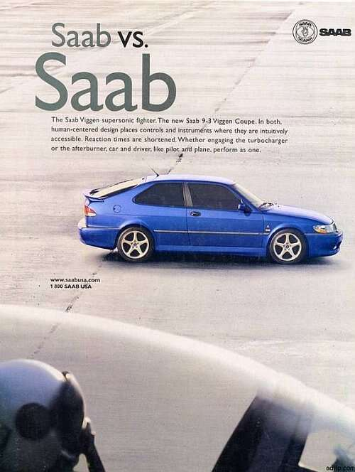 Saab car ad of the (b)1970s  Figure 2(a and b): These decades-old Saab auto ads were an attempt to create a comfortable, confident feeling about their technology sophistication by aligning the cars with their jet fighters. (Image source: Pinterest)