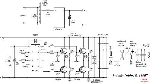 Click here for larger image  'The schematic diagram of the induction heater with IGBT's' (Source: danyk.cz)