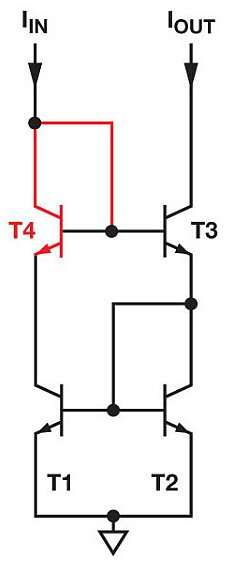 Adding T4 will improve the accuracy and the dynamic range of the Wilson Current Mirror (Image courtesy of Reference 4)