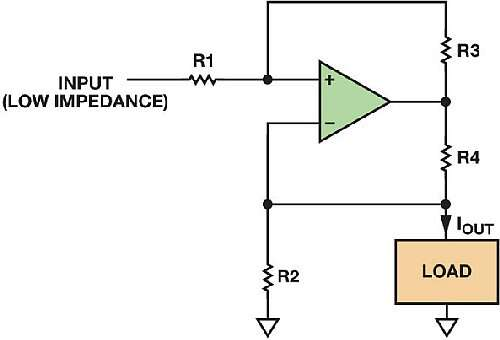 The Howland Pump: Beware that this architecture needs precisely matched resistors which is easy with laser trimming in an IC but not as easy in a discrete circuit design. (Image courtesy of Reference 4)