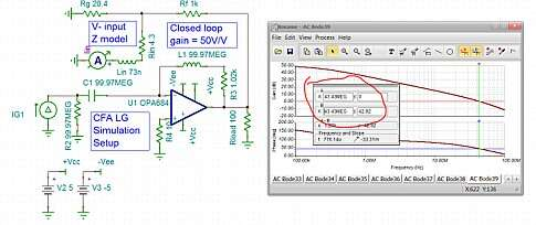 Click here for larger image  LG simulation set up to emulate closed loop gain of 50V/V condition for the OPA684.