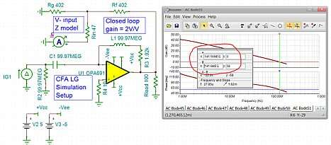 Click here for larger image  LG simulation set up to emulate closed loop gain of 2V/V condition for the OPA691.