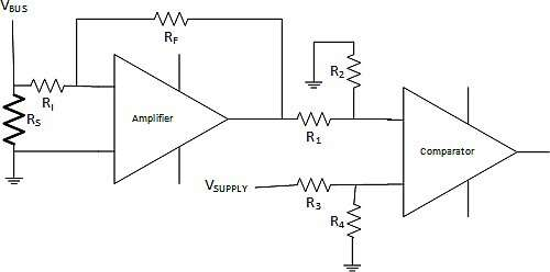 Overcurrent detection implementation featuring discrete operational amplifier and comparator