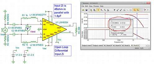 Click here for larger image  Extracting the open loop differential input impedance for the 2.8GHz LMH6554	FDA.