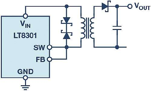 The LT8301 flyback regulator without an isolated feedback path.