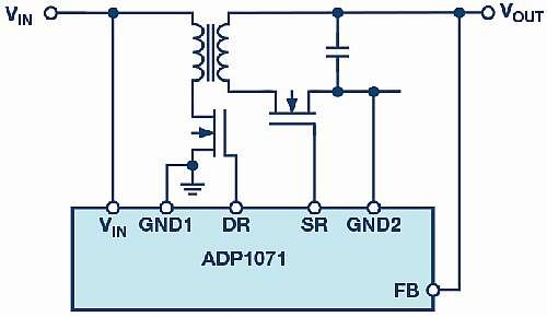 The ADP1071 flyback controller with an integrated feedback path for very accurate regulation.