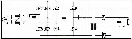 Click here for larger image  Server supply comprising a totem pole AC-DC rectifier with two interleaved high frequency bridge legs and an LLC DC-DC converter with center-tapped transformer