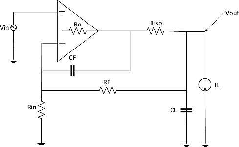 MAX44246 op-amp circuit configured for in-loop compensation.