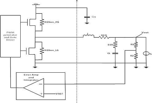 Click here for larger image  Generic model of DC-DC buck switching regulator with lossy components.