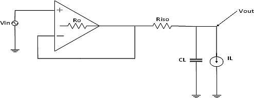 Op-amp configured for out-of-loop compensation.