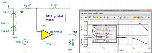 Click here for larger image  Gain of +2V/V with lower Rf = Rg values to improve phase margin.