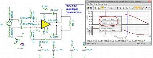 Click here for larger image  Open loop differential input impedance extraction for the THS4551 FDA.