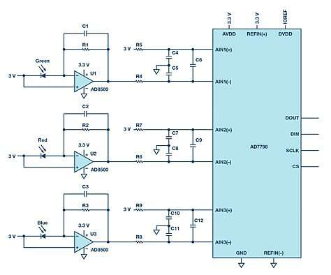 Click here for larger image   Circuit design for measurement of light intensity.