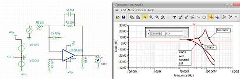Click here for larger image Gain of -2V/V inverting compensation using the OPA838.