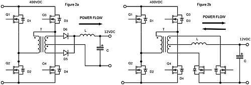 Click here for larger image Synchronous rectifiers configured for bidirectional power flow