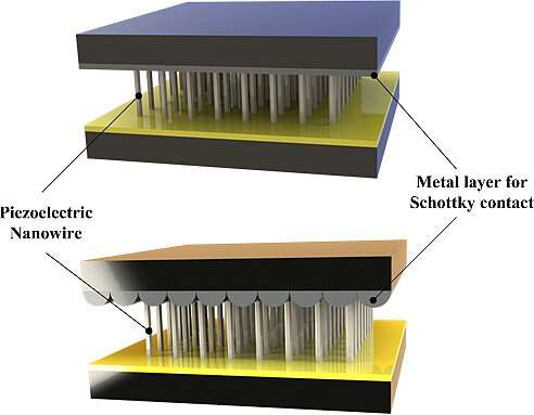Schematic view of typical Vertical nanowire Integrated Nanogenerator with different contacts(Image courtesy of Reference 1)