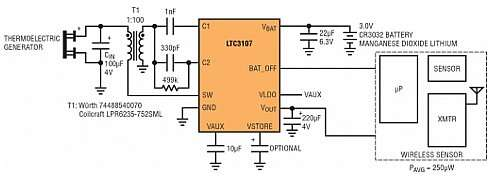System with wireless sensor equipped with battery and thermal energy harvesting circuit based on LTC3107