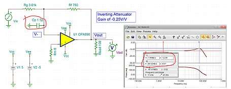 Click here for larger image Inverting attenuator using the unity gain stable OPA890