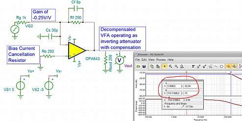 Click here for larger image Inverting attenuator with decompensated VFA and external compensation.