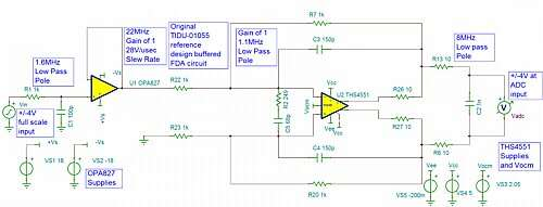 Click here for larger image Original signal channel design using an OPA827 buffer and THS4551 single to differential stage.